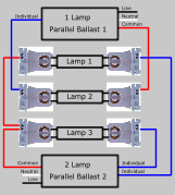 3 Lamp Parallel Two Ballasts Lampholder Wiring Diagram Thumb