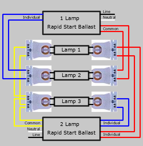 3 Lamp Series Two Ballasts Lampholder Wiring Diagram 1