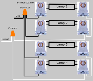 4 Lamp Led Dual-Ended Ballast Lampholder Wiring Diagram 2