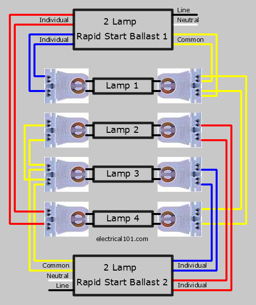 Two 2 Lamp Series Lampholder Ballast Wiring Diagram
