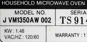 Built-in Microwave Label